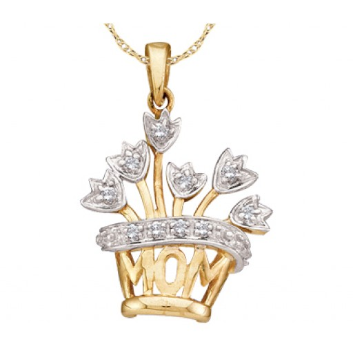 Heart Mom Charm Flowers Mother Charm Fashion 10K Yellow Gold