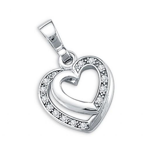 14k White Gold Love Heart CZ Pendant Charm