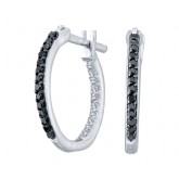 Black Diamond Hoop Earrings Round 14k White Gold (1/4 Carat)