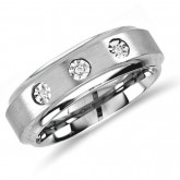 Mens Three Stone Diamond Engagement Ring Wedding Band Tungsten (0.03 ct.tw)