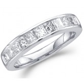 Princess Diamond Wedding Ring 14k White Gold Bridal Band (0.50 Carat)