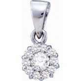 Solitaire Diamond Pendant 14k White Gold Flower Charm (1/4 Carat)