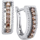 Brown Chocolate Diamond Hoop Earrings 14k White Gold Round (1/2 Carat)