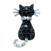 Black Diamond Cat Pendant 10k White Gold Animal Charm (1/3 Carat)