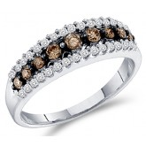 Diamond Ring Champagne Brown Chocolate 10k White Gold Band (1/2 Carat)