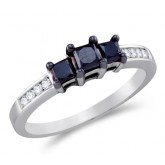 Three Stone Black Diamond Ring 10k White Gold Anniversary (0.83 Carat)