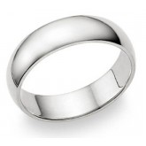 Classic Wedding Band 14k White Gold Ring Mens Plain Comfort Fit 6 MM
