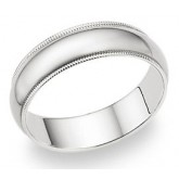 Wedding Band 14k White Gold Ring Mens Solid Plain Milgrain 6 MM