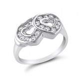 Two Hearts Ring Fashion Band Elegant CZ Sterling Silver (0.25 Carat)