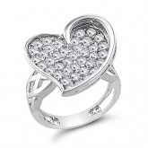 Heart Ring Fashion Band Fancy CZ Sterling Silver (1.20 Carat)