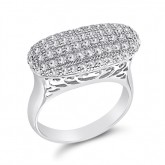 Fashion Ring Fancy Band CZ Micro Pave Sterling Silver (0.70 Carat)