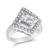 Cocktail Ring Fashion Band CZ Sterling Silver (1.00 Carat)
