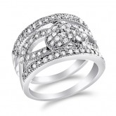 Heart Ring Fashion Band CZ Sterling Silver (0.50 Carat)