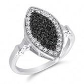 Black & White CZ Marquise Ring Fashion Band Sterling Silver (0.35 CT)