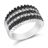 Black & White CZ Fashion Ring Anniversary Band Sterling Silver (1 CTW)