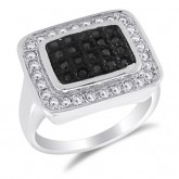 Black & White CZ Square Fancy Fashion Ring Sterling Silver (0.75 CTW)