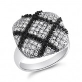 Black and White CZ Cocktail Fashion Ring Sterling Silver (0.60 Carat)