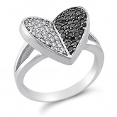 Black and White CZ Heart Ring Fashion Sterling Silver (0.30 Carat)