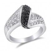 Black and White CZ Fashion Ring Band Sterling Silver (0.65 CTW)