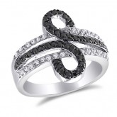 Black and White CZ Loop Ring Fashion Band Sterling Silver (0.70 Carat)