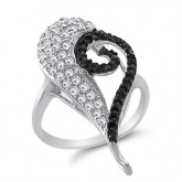 Black and White CZ Heart Ring Fancy Band Sterling Silver (0.75 Carat)