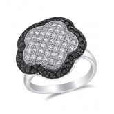 Black & White CZ Flower Ring Fashion Band Sterling Silver (0.40 Carat)