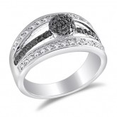 Black & White CZ  Cluster Fashion Ring Band Sterling Silver (0.30 CTW)