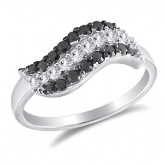 Black and White CZ Fashion Ring Band Sterling Silver (0.40 Carat)