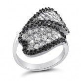 Black and White CZ Hearts Ring Fancy Band Sterling Silver (1.90 Carat)