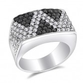 Black & White CZ Fashion Ring Fancy Band Sterling Silver (1.85 Carat)