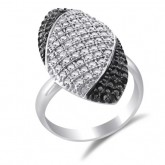 Black & White CZ Cocktail Ring Fashion Band Sterling Silver (0.60 CTW)