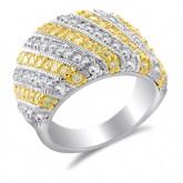 Yellow & White CZ Fashion Ring Fancy Band Sterling Silver (1.50 Carat)