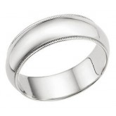 Mens Wedding Ring 14k White Gold Band Milgrain Solid 7 MM