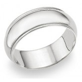 Wedding Band 14k White Gold Ring Mens Solid Plain Milgrain 8 MM