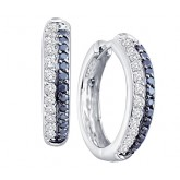 Black and White Diamond Hoop Earrings 14k White Gold (2/3 Carat)