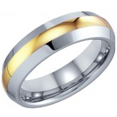 Mens Tungsten Wedding Ring Engagement Band Comfort Fit Yellow Stripe