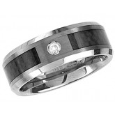 Mens Tungsten Wedding Band Solitaire CZ Black Stripe Ring Comfort Fit