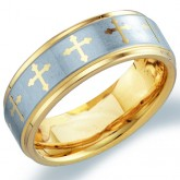 Mens Tungsten Wedding Ring Engagement Band Comfort Fit Cross Yellow