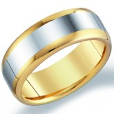 Mens Tungsten Wedding Ring Yellow Band Engagement Comfort Fit