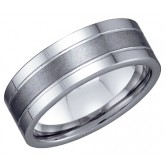 Mens Tungsten Wedding Ring Engagement Band Comfort Fit Brushed Stripe