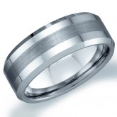 Mens Tungsten Wedding Ring Brushed Stipe Engagement Band Comfort Fit