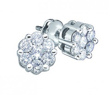Diamond Stud Earrings Round Solitaire Set 14k White Gold (1.00 Carat)