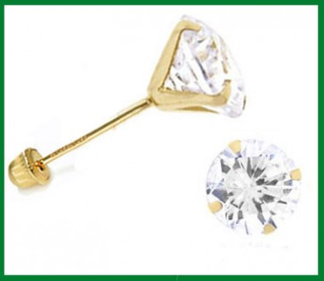 Solitaire Stud Earrings Round CZ 14k Yellow Gold Cubic Zirconia