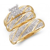 Diamond Rings Trio Set Yellow Gold Engagement Matching Wedding Bands