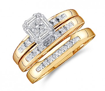Diamond Engagement Rings Set Wedding Yellow Gold Men Ladies .10ct