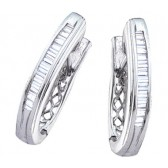 Diamond Hoop Earrings Baguette 10k White Gold (1/2 Carat)