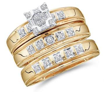 Trio Diamond Rings Bridal Set Engagement Wedding Yellow Gold .33ct