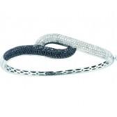 Black Diamond Bangle Bracelet 14k White Gold (2.48 Carat)