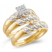 Diamond Engagement Rings & Wedding Bands Set 14k Yellow Gold (0.09 CT)