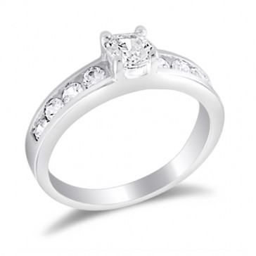 Engagement Ring Solitare Bridal Round CZ Sterling Silver (0.75 Carat)